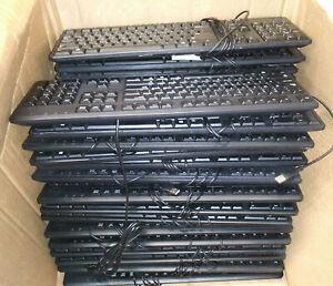 (Lot of 14) Dell KB212-B USB Wired Black Keyboard, 104 Key English QWERTY, 4G481