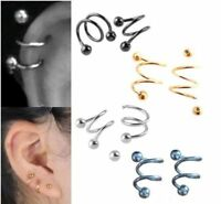 2pc Punk 316L Surgical Steel Spiral Helix Ear Stud Nose Ring Piercing Jewelry