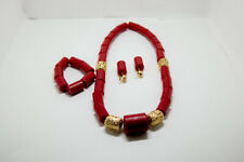 and Ear Ring For Women Red African Cultural Bead With Bracelet