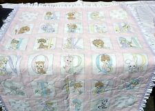 Precious Moments VTG Quilted Baby Blanket Pink  Alphabet ABCs Handmade #D-13
