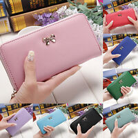 Lady Leather Wallet Long Zip Purse Card Holder Clutch Large Capacity Pocket Bag