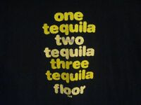 One Tequila - Three Tequila Floor Black & Yellow Graphic T- Shirt Sz Large Drink