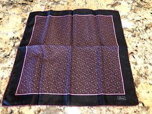 Brioni Pocket Square Pink and Black Silk EUC