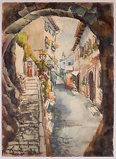 Switzerland Village Landscape Watercolor Painting Gandria Mid Century 1965
