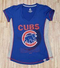 Chicago Cubs Baseball Majestic Blue MLB Shirt ~ Women's Large L ~ SS