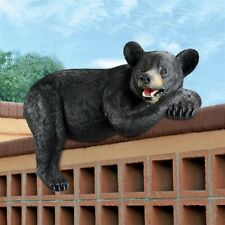 """30"""" W Realistic Lifesize Sculpted Roof top Resting Wildlife Bear Garden Wall"""