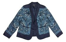 INC International Concepts Size 0X Blue Paisley Shawl Collar Blazer Jacket NEW
