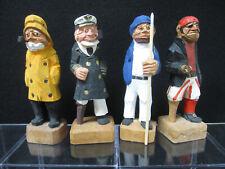 Vtg Set Lot 4 Hand Carved Wood Sailors Pirates Fisherman Nautical Figurines Vgc