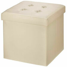 Folding Ottoman Storage Box Pouffe Seat Foot Stool Home Chair Storage Bench UK