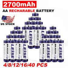 4-40 AA Rechargeable Batteries NiMH 2700mAh 1.2v GardenNi-MH Light LED For BP