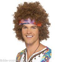 Men's 60's Brown Hippy Afro Wig Headband & Necklace Fancy Dress Set Jim Hendrix