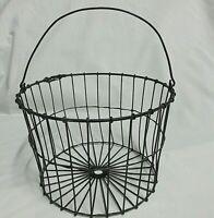 "Vintage Primitive Wire Egg Or Fruit Basket Farmhouse Style 5"" high 8"" wide"