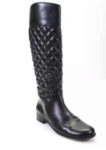 Corso Como  Womens Knee High Zip Up Boots Black Quilted Leather Size 8.5