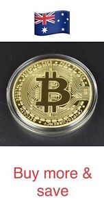 Bitcoin Commemorative Round Collectors Coin Bit Coin is Gold Plated