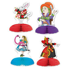 ALICE IN WONDERLAND MINI HONEYCOMB PARTY TABLE CENTREPIECE x4!