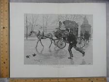 Rare Antique Original VTG Man Running Horse & Carriage Illustration Art Print