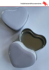 6 White Heart Tins & Lids - perfect for wedding, candle making, sweets,valentine