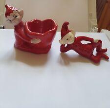 2 Red Gilner Pottery Elf Pixie Brownie egg cup sprites Vintage 1950's