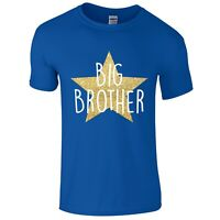 Boys Gold Glitter Star Big Brother T-Shirt Printed Pregnancy Reveal Gift Present