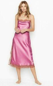 Victorias Secret Satin & Lace Sleep Midi Slip Dress Nightgown Lingerie Large