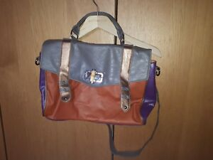 WOMENS CASUAL COLORFUL OFFICE CASUAL MESSENGER BAG FAUX LEATHER ORANGE GREY GOLD