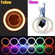 2x Car Headlight 70mm Amber Angel Eyes Cob Halo Ring LED Lights DRL Warning Lamp