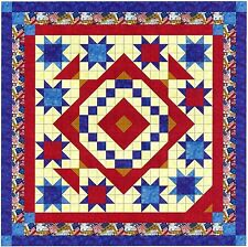 Quilt Kit/Patriotic Diamond Stars/Pre-cut Fabric Ready To Sew/Expedited Shipping