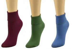 Sierra Socks Women's Diabetic Cotton Ankle Turn Cuff 3 Pair Pack Socks For Mom
