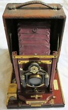 Century Wooden Folding Camera w/Red Bellows Old Vtg Antique