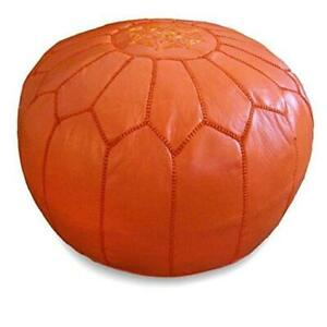 Moroccan Pouf 20-Inch by 13-Inch Orange