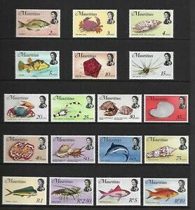 1969 MAURITIUS FISH SEALIFE DEFINITIVE SERIES SG382 - 399w MNH U/M - SUPERB