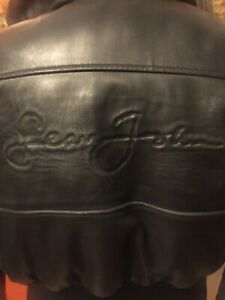 Sean John Signature Womens Black vintage leather jacket Size S rare