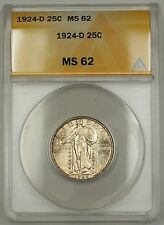 1924-D Standing Liberty Silver Quarter 25c ANACS MS-62 (Better Very Choice Coin)