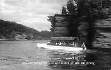 RPPC, WI  Wisconsin Dells  DUCK BOAT At Hawks Bill  ROADSIDE Real Photo Postcard