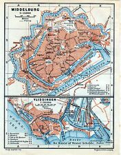 Antique map carte plattegrond Middelburg / Vlissingen Holland 1910