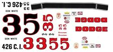#3 or #5 Don White 1969-70 Dodge Charger 1/24th - 1/25th Scale Waterslide Decals