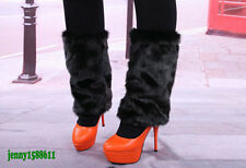 Popular faux fur funky leg warmers boots cover club dance shoes cover black 30cm
