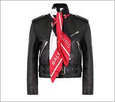 fc4483762055  3.5k NWT Balenciaga Black Leather Biker Jacket w Removable Silk Scarf FR 44