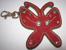 VINTAGE RED RUST COLORED FAUX LEATHER BUTTERFLY KEYCHAIN CHARM HTF