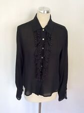 TAZEE Black Silk Beaded Frill Front Blouse Size XL
