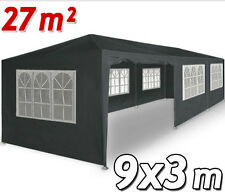 GAZEBO 3x9 METALLO TETTO IMPERMEABILE GIARDINO OMBRELLONE TENDA grigio