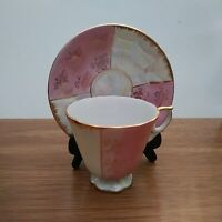 Vintage fine china Cup & Saucer Pink with Gold floral and trim