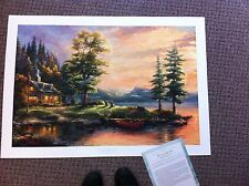 "Thomas Kinkade "" Morning Light Lake "" Signed & Numbered LE Lithograph  24x36"