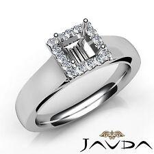 Princess Diamond Halo Prong Set Engagement Semi Mount 0.2Ct Ring 14k White Gold
