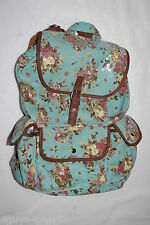 Womens Girls LIGHT TEAL CANVAS BACKPACK Beige & Dusty Pink Floral Print STYLISH