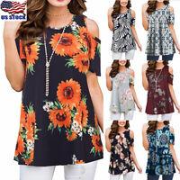 Women Boho Floral Cold Shoulder T-Shirt Summer Casual Tunic Tops Blouse Shirt US