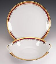 Porcelaine De Limoges China Red Gold Oval Vegetable Round Platter