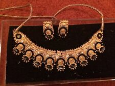 Ladies Indian Bollywood Style Costume Jewellery Set - Gold Black Pearl Diamante