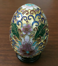 Chinese Gold Cloisonne Egg with Wood Stand Enamel Brass Copper Vintage Handmade