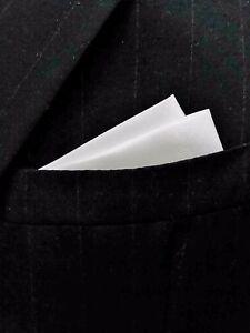 POCKET SQUARE White Satin 2 pt Wing - CUSTOM folded & sewn